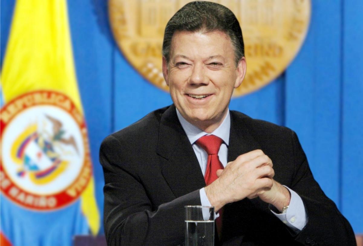 Il giornalista Juan Manuel Santos. Riconfermato presidente della Colombia