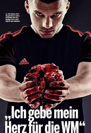 Spot della Adidas con un cuore di mucca. Polemica travolge Lukas Podolsky