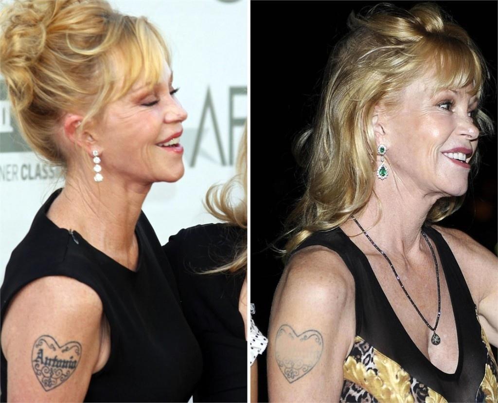 Melanie Griffith e il tatuaggio per Banderas. A Taormina lo teneva coperto col fondotinta