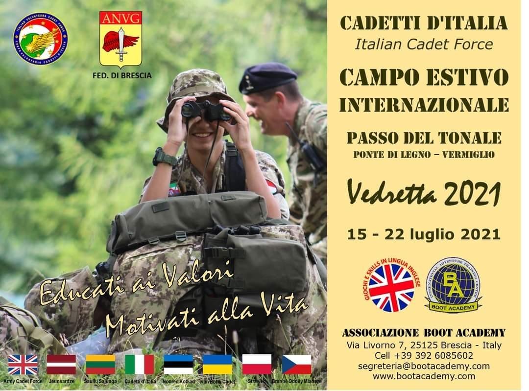 Riparte il Campo Estivo per Cadetti. Volontari «Vedretta 2021». Il programma
